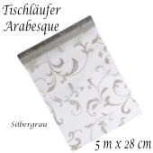 Tischläufer, Tischdecke Arabesque Silbergrau, 5 Meter Rolle