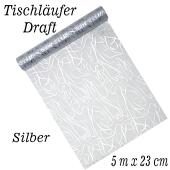 Tischläufer, Tischdecke Draft Silber, 5 Meter Rolle