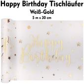 Tischläufer, Tischdecke Happy Birthday, weiß-gold, 5 Meter Rolle