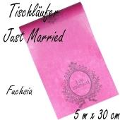 Tischläufer Hochzeit, Just Married, fuchsia
