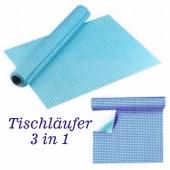 Tischläufer, Tischsets, Karomuster, blau