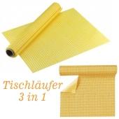 Tischläufer, Tischsets, Karomuster, gelb