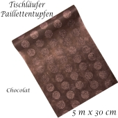 Tischläufer, Tischdecke Pillettentupfen, chocolat, 5 Meter Rolle