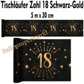 Tischläufer, Tischdecke Zahl 18, schwarz-gold, 5 Meter Rolle