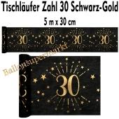 Tischläufer, Tischdecke Zahl 30, schwarz-gold, 5 Meter Rolle