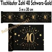 Tischläufer, Tischdecke Zahl 40, schwarz-gold, 5 Meter Rolle