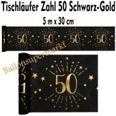 Tischläufer, Tischdecke Zahl 50, schwarz-gold, 5 Meter Rolle