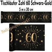 Tischläufer, Tischdecke Zahl 60, schwarz-gold, 5 Meter Rolle
