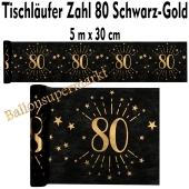 Tischläufer, Tischdecke Zahl 80, schwarz-gold, 5 Meter Rolle