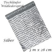 Tischläufer, Tischdecke Wildlederoptik, silber, 3 Meter Rolle