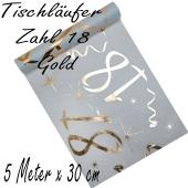 Tischläufer, Tischdecke Zahl 18, gold, 5 Meter Rolle