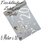 Tischläufer, Tischdecke Zahl 20, gold, 5 Meter Rolle