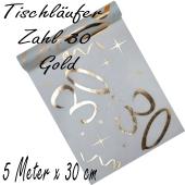 Tischläufer, Tischdecke Zahl 30, gold, 5 Meter Rolle