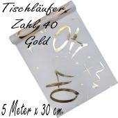 Tischläufer, Tischdecke Zahl 40, gold, 5 Meter Rolle