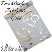 Tischläufer, Tischdecke Zahl 50, gold, 5 Meter Rolle