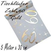 Tischläufer, Tischdecke Zahl 60, gold, 5 Meter Rolle