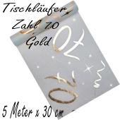 Tischläufer, Tischdecke Zahl 70, gold, 5 Meter Rolle