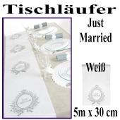 Tischläufer Hochzeit, Just Married, weiß