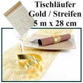 Tischläufer, Tischdecke Gold mit Streifen, 5 Meter Rolle