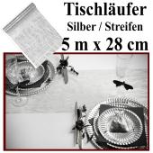 Tischläufer, Tischdecke Silber mit Streifen, 5 Meter Rolle