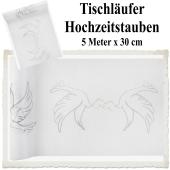 Deko-Tischläufer Weiß mit Hochzeitstauben, Organza Tischdecke, 5 Meter lang x 30 cm