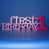 Tischstaender zum ersten Geburtstag, Maedchen, Rosa