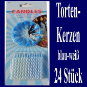 Tortenkerzen, 24 Stück, 12 Kerzenhalter, blau-weiß