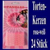 Tortenkerzen, 24 Stück, 12 Kerzenhalter, rosa-weiß