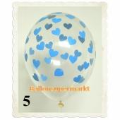 Luftballons 30 cm, Kristall, Transparent mit Babyblauen Herzen, 5 Stück