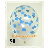 Luftballons 30 cm, Kristall, Transparent mit Babyblauen Herzen, 50 Stück