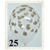 Luftballons 30 cm, Kristall, Transparent mit goldenen Herzen, 25 Stück