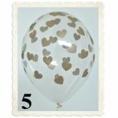 Luftballons 30 cm, Kristall, Transparent mit goldenen Herzen, 5 Stück