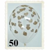 Luftballons 30 cm, Kristall, Transparent mit goldenen Herzen, 50 Stück