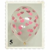 Luftballons 30 cm, Kristall, Transparent mit rosa Herzen, 5 Stück