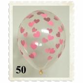 Luftballons 30 cm, Kristall, Transparent mit rosa Herzen, 50 Stück