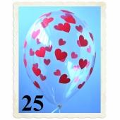 Luftballons 30 cm, Kristall, Transparent mit roten Herzen, 25 Stück