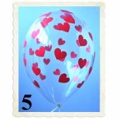 Luftballons 30 cm, Kristall, Transparent mit roten Herzen, 5 Stück