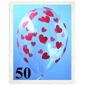 Luftballons 30 cm, Kristall, Transparent mit roten Herzen, 50 Stück