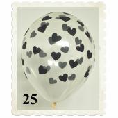 Luftballons 30 cm, Kristall, Transparent mit schwarzen Herzen, 25 Stück