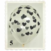 Luftballons 30 cm, Kristall, Transparent mit schwarzen Herzen, 5 Stück