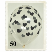 Luftballons 30 cm, Kristall, Transparent mit schwarzen Herzen, 50 Stück