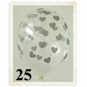 Luftballons 30 cm, Kristall, Transparent mit silbernen Herzen, 25 Stück