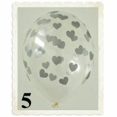 Luftballons 30 cm, Kristall, Transparent mit silbernen Herzen, 5 Stück