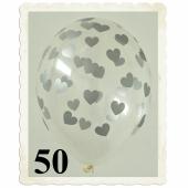 Luftballons 30 cm, Kristall, Transparent mit silbernen Herzen, 50 Stück