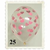 Luftballons 30 cm, Kristall, Transparent mit rosa Herzen, 25 Stück