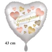 Traumpaar Hearts, Herzluftballon, satinweiss, ohne Helium zur Hochzeit