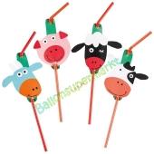 Farm Fun Trinkhalme zum Kindergeburtstag, 8 Stück