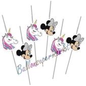 Minnie Maus Einhorn Trinkhalme zum Kindergeburtstag