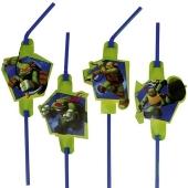 Ninja Turtles Trinkhalme zum Kindergeburtstag