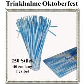 Trinkhalme Oktoberfest, blau-weiss, 40 cm x 6 mm, 250 Stück